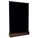Ardoise de table A6 - Socle bois marron